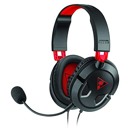 Turtle Beach Recon 50 Auriculares Gaming PC, PS4, PS5, Xbox One y Nintendo Switch, Negro / Rojo