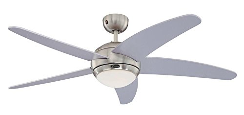 Westinghouse Lighting Bendan Ventilador de Techo, 132 cm interior R7s, 80 W, Aspas plateadas