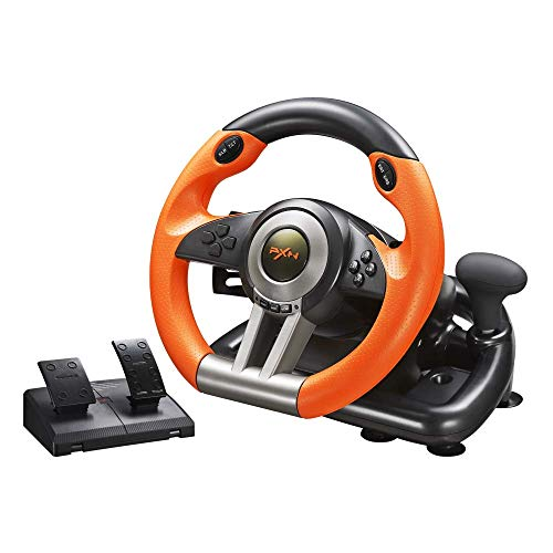 Volante de Carreras para PC PXN V3II | Volante de Carreras con Pedal de 180º USB Universal | Compatible con Windows PC, Playstation 3, Playstation 4, XBOX ONE, Nintendo Switch