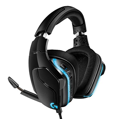 Logitech G635 Auriculares Gaming RGB con Cable, Sonido 7.1 Surround, DTS Headphone:X 2.0, Transductores 50mm Pro-G, USB/3.5mm Jack, Mic Volteable para Silenciar, PC/Mac/Xbox One/PS4/Nintendo Switch