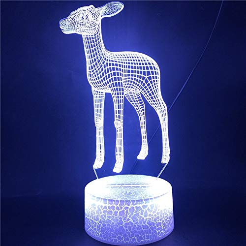 Cambio de color led decoración fresca ciervo animal único con control remoto luz nocturna base de resaltado luz LED nocturna pequeña lámpara de escritorio LED, luz táctil inteligente